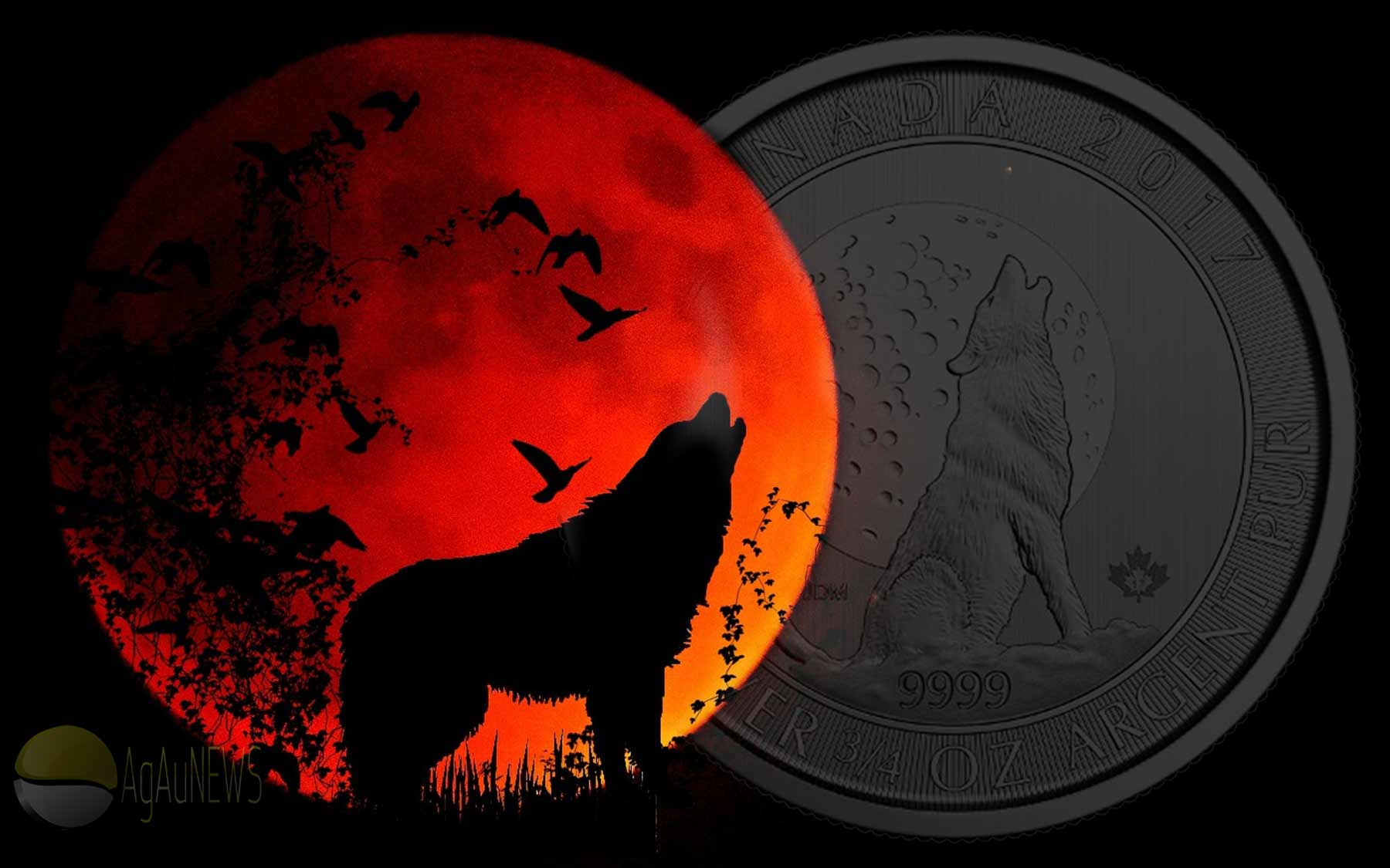 Third Canadian Three Quarter Ounce Silver Howling Wolf