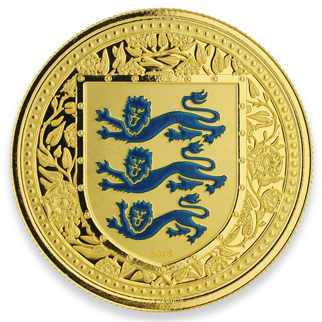 Royal Arms of England gold blue