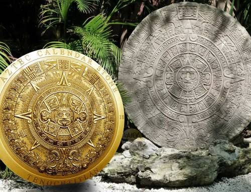 Numiscollect's beautiful Aztec Calendar Stone coin has a very limited trip to the gilders